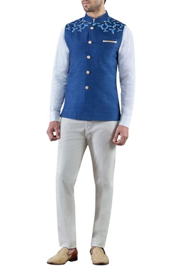 SS HOMME Navy blue embroidered raw silk bandi