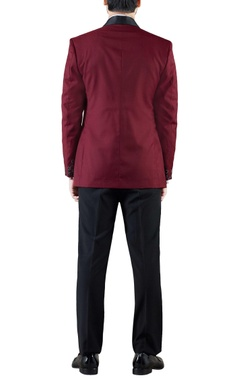 burgundy embroidered wool tuxedo jacket