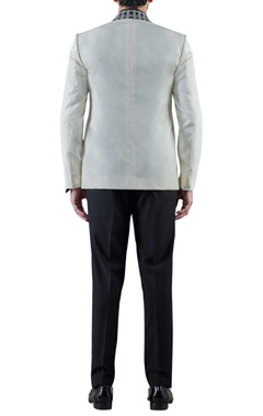 off white hand embroidered worsted wool dinner jacket