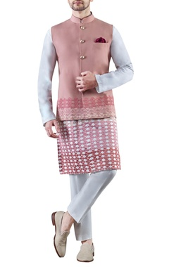 baby pink embroidered worsted wool & cotton silk kurta set