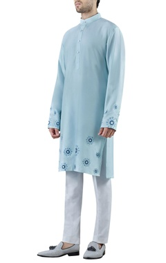 light blue embroidered silk kurta