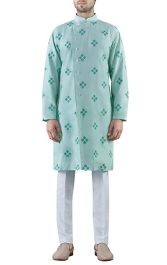 SS HOMME- Sarah & Sandeep Mint green embroidered cotton silk kurta