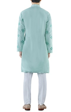 Mint green embroidered cotton silk kurta
