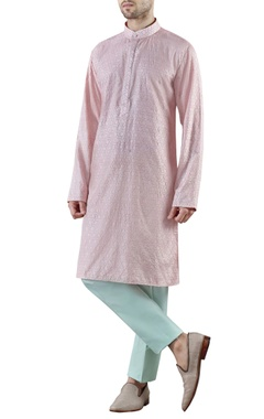 pale pink embroidered raw silk kurta