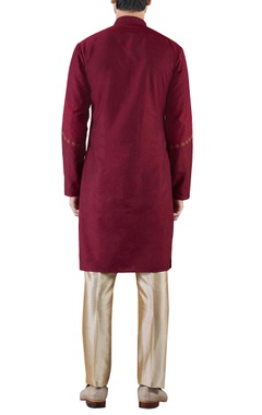 burgundy embroidered cotton silk kurta