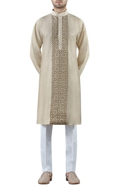 pale gold embroidered cotton silk kurta