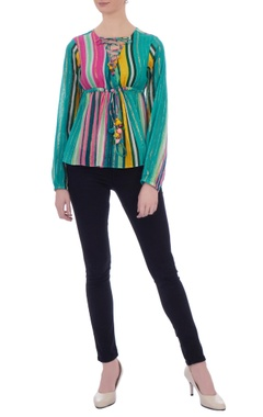 multicolored cotton lurex butterfly blouse