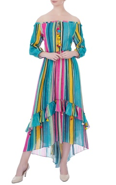 Blue cotton striped dress