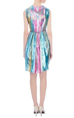 Multicolored rainbow stripe lurex mini dress