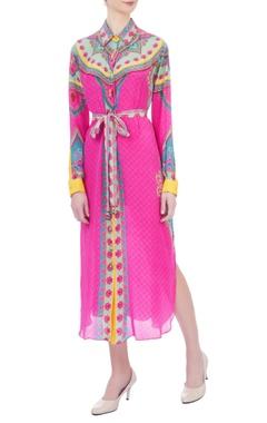 Pink crepe silk belt style dress
