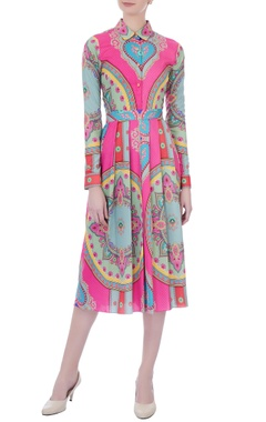 Pink ming crepe printed & pleated dress