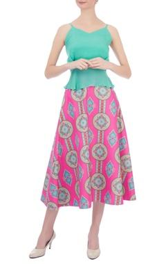 Siddhartha Bansal Pink & blue kaleidoscopic printed circular skirt
