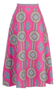 Pink & blue kaleidoscopic printed circular skirt