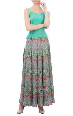 Siddhartha Bansal Green flared maxi skirt