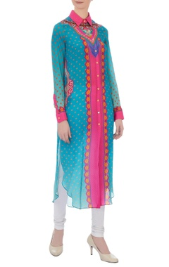 Siddhartha Bansal Pink & blue floral printed shirt kurta