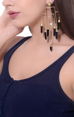 gold plated spike statement earrings