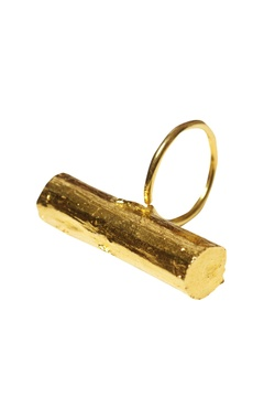 gold plated twig statement ring