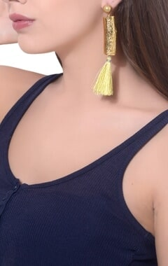gold plated brass & twig tassel earrings