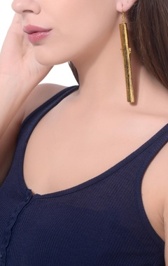 Gold finished hand-crafted long earrings