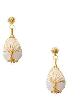 Eurumme Gold plated white moonstone earrings