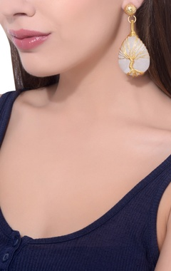 gold plated white moonstone earrings