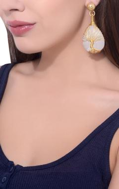 Gold plated white moonstone earrings