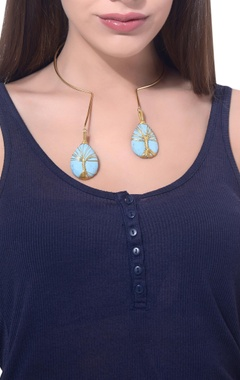 Gold plated moonstone choker necklace