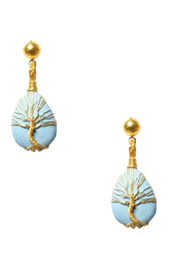 turquoise stone tree-of-life earrings