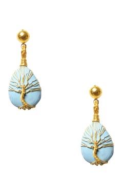 Eurumme Turquoise stone tree-of-life earrings