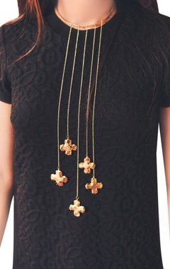 Gold plated statement choker necklace