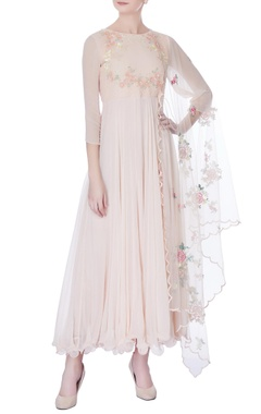peach & white sequin embroidered kurta with dupatta