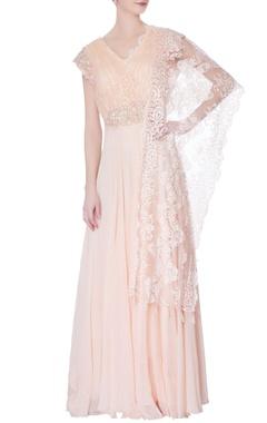 orange & white lace flared kurta gown