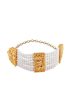gold micron finish bracelet with white pearls