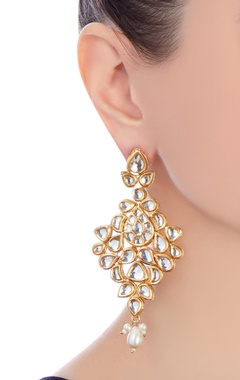 gold kundan micron finish faux pearl earrings