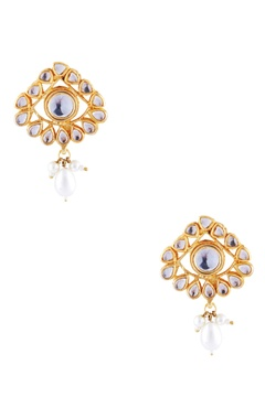 gold kundan & faux pearl earrings