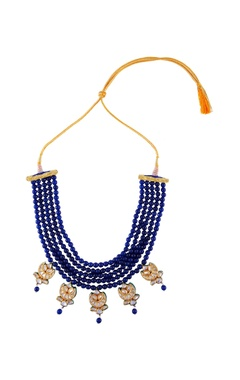 blue tiered bead necklace with earrings