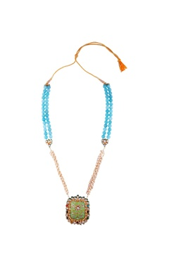 turquoise blue bead & kundan long statement necklace