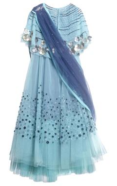 Blue tulle, taffeta & crepe embroidered lehenga set