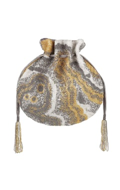 Lovetobag Silver potli with hand-finished tassels