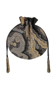 Black hand-embroidered potli with detachable handle