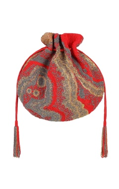 Lovetobag Red potli with japanese bead embellishments