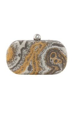 Lovetobag silver oval clutch with japanese bead embellishments