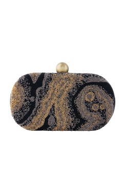 Lovetobag Black hand embroidered clutch with beadwork