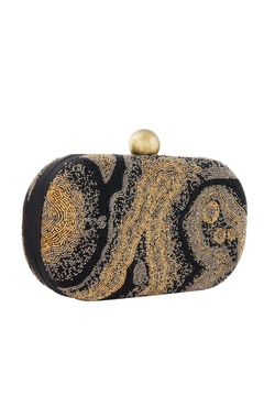 black hand embroidered clutch with beadwork