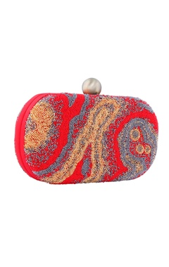 Red clutch with japanese bead embroidery