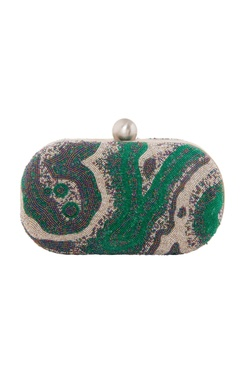 Lovetobag Blue & green japanese bead oval clutch