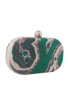 blue & green japanese bead oval clutch