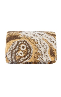 Lovetobag gold rectangular hand embroidered clutch