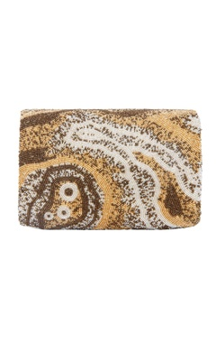 Gold rectangular hand embroidered clutch