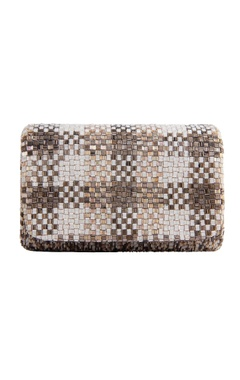 Lovetobag silver rectangle bugle bead clutch